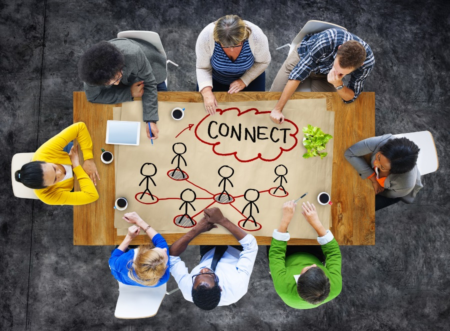 People in a Meeting and Connection Concept